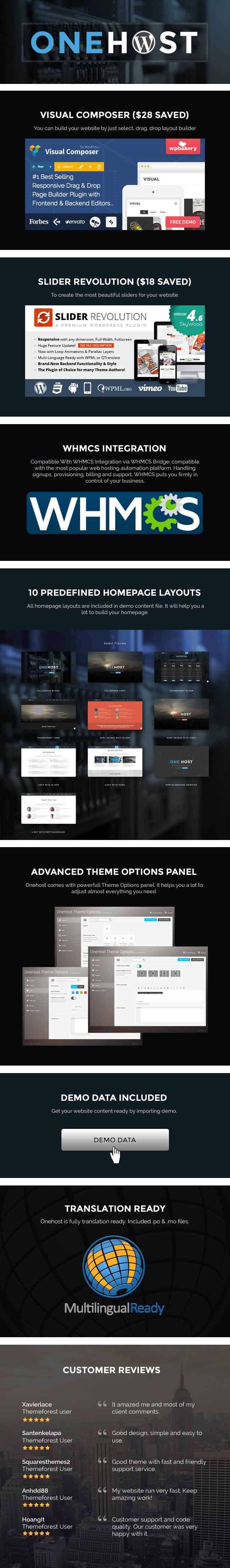 onehost features - Onehost - One Page WordPress Hosting Theme